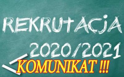 Komunikat w sprawie zmian w postępowaniu rekrutacyjnym do szkół ponadpodstawowych na rok szkolny 2020/2021