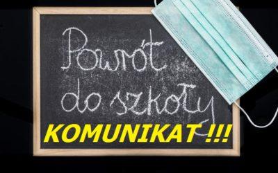 Rozpoczęcie roku szkolnego 2020/2021 – KOMUNIKAT !!!