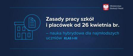 Zajęcia hybrydowe dla klas I-III od 26 kwietnia br.